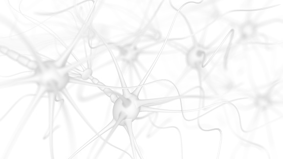 Neuron cells - 3d rendered image of Neuron cell network on white background.  Conceptual medical image.  Healthcare concept.