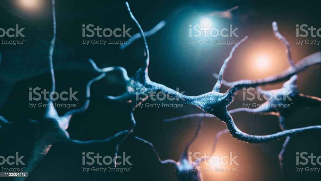 Neuron cells system Neuron cells system - 3d rendered horizontal image of neurons cells.View  interconnected neurons cells with electrical pulses. Conceptual medical image. Healthcare concept. Als Stock Photo