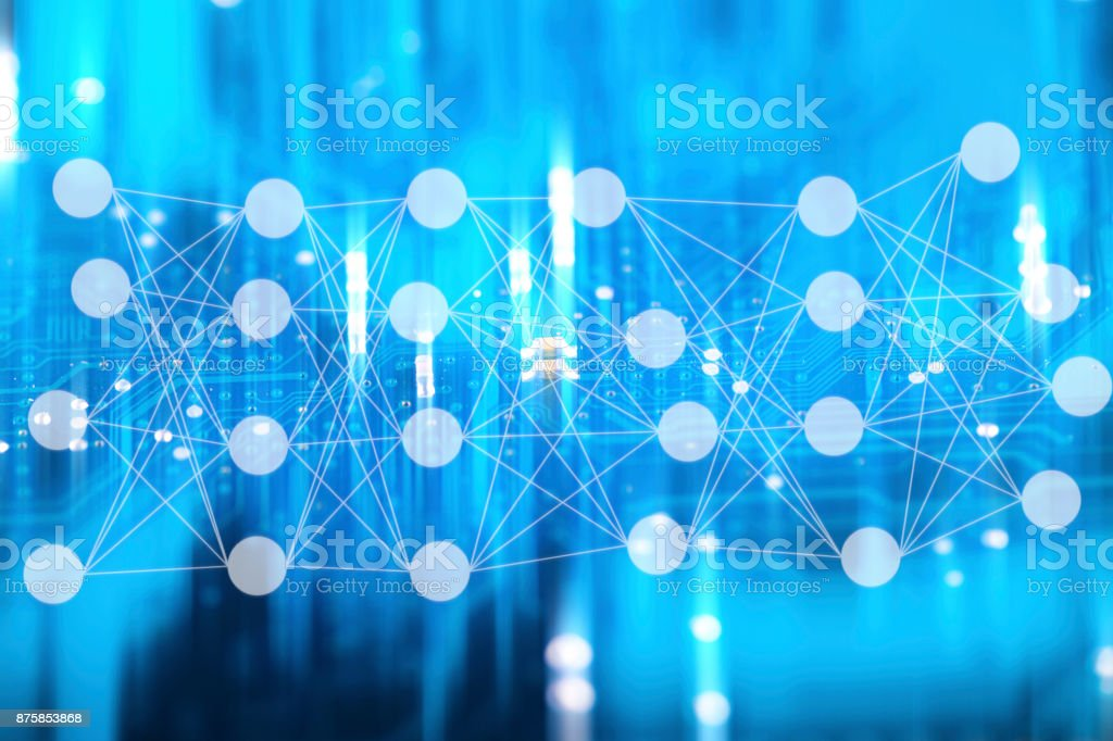 neuron network with circuit dots stock photo