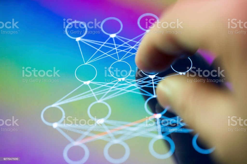 neuron network with finger hand point to the screen stock photo