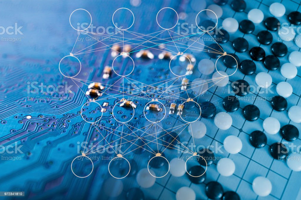 neuron network with go game board stock photo
