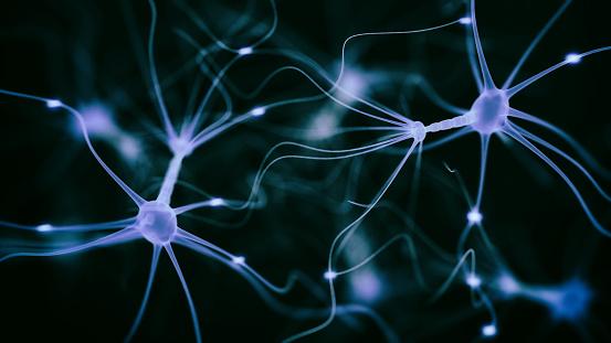 Neuron synapse hologram - 3d rendered image of Neuron cell network on black background.  Conceptual medical image.  Healthcare concept. SEM [TEM] hologram view.