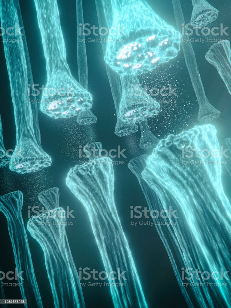 Neuron synapses stock photo