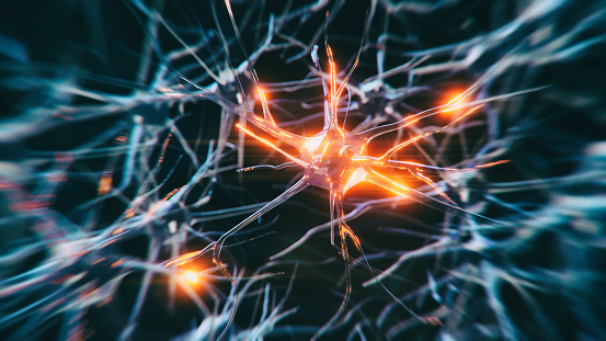 Neuron cells system disease - 3d rendered image of Neuron cell network on black background. Interconnected neurons cells with electrical pulses. Conceptual medical image.  Glowing synapse.  Healthcare, disease concept.