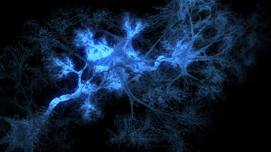 Neuron system hologram - 3d rendered image of Neuron cell network on black background. Hologram view  interconnected neurons cells with electrical pulses. Conceptual medical image.  Glowing synapse.  Healthcare concept.