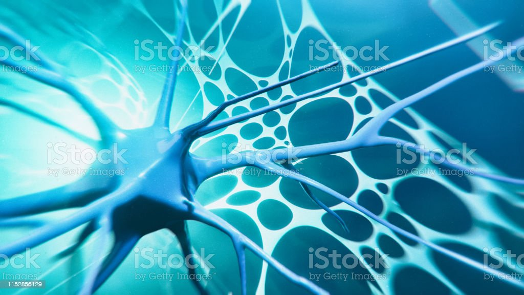 Neuron system Neuron cells system - 3d rendered image of Neuron cell network. Hologram view. Neuroscience concept. Abstract Stock Photo