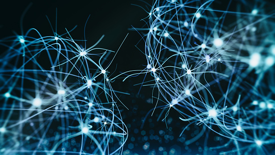 Neuron cells system - 3d rendered image of Neuron cell network on black background. Hologram view  interconnected neurons cells with electrical pulses. Conceptual medical image.  Glowing synapse.  Healthcare concept.