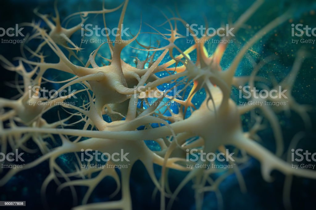 Neurons cell brain on science background. 3D illustration stock photo