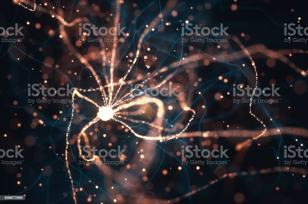 Neurons Electrical Pulses 3D illustration of Interconnected neurons with electrical pulses. Biochemistry Stock Photo