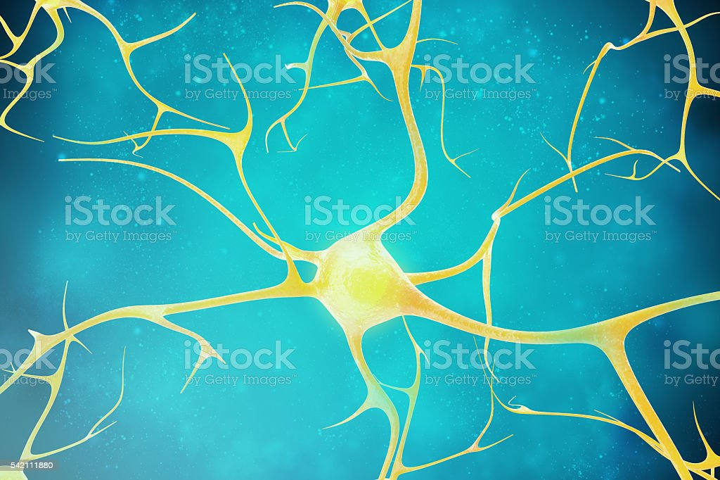Neurons in the beautiful background. 3d illustration of a high stock photo