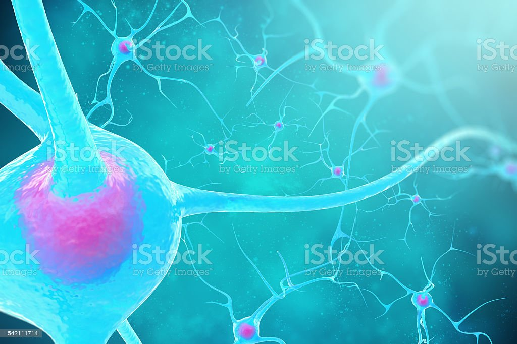 Neurons in the brain on blue background. 3d illustration stock photo