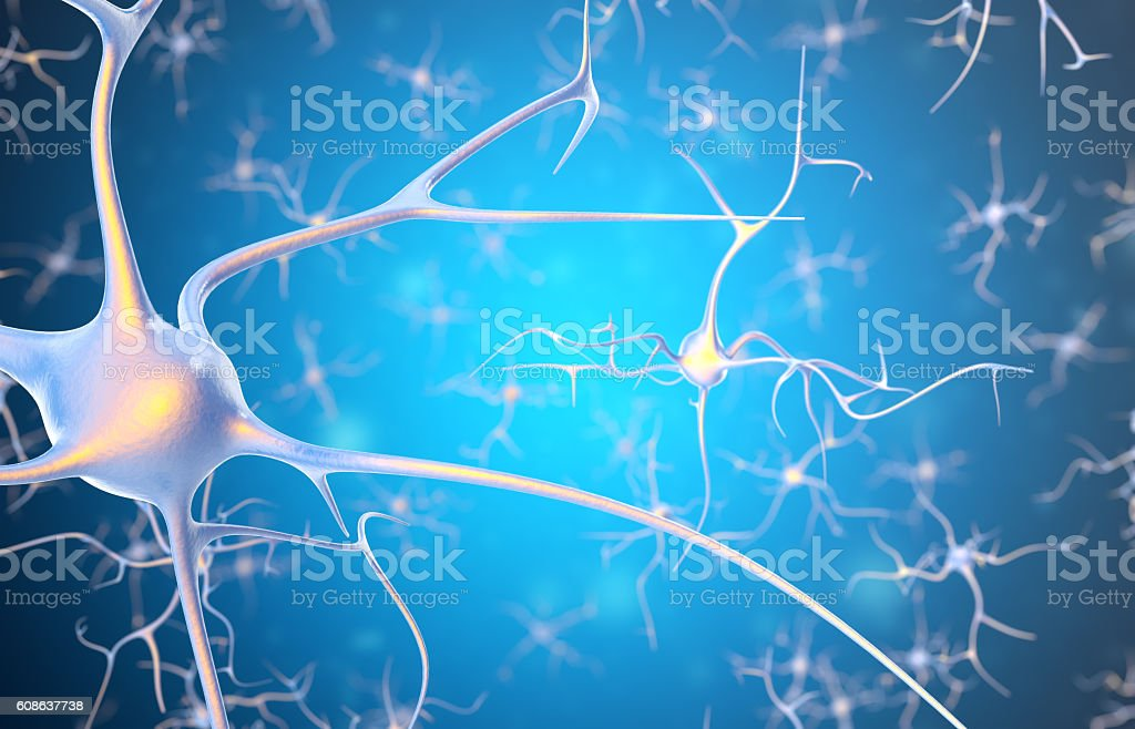 Neurons in the brain with focus effect. 3d rendering stock photo