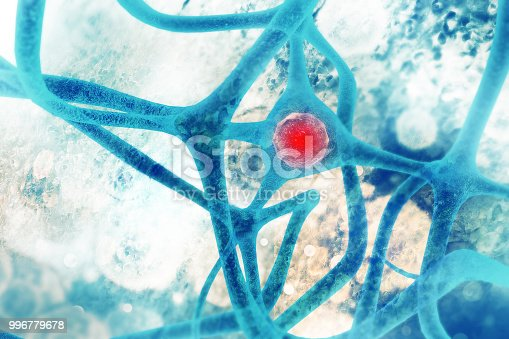 istock Neurons on scientific background 996779678
