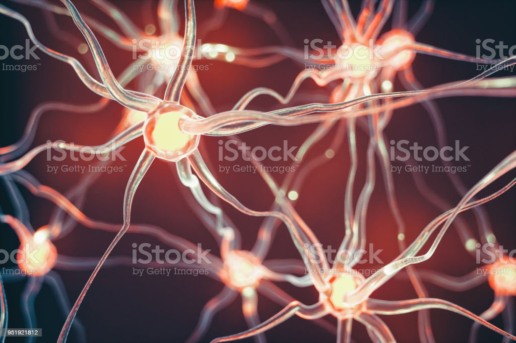 Neurons Connected nerve cells scientific background. Alzheimer's Disease Stock Photo