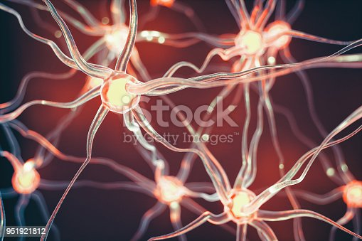 Connected nerve cells scientific background.