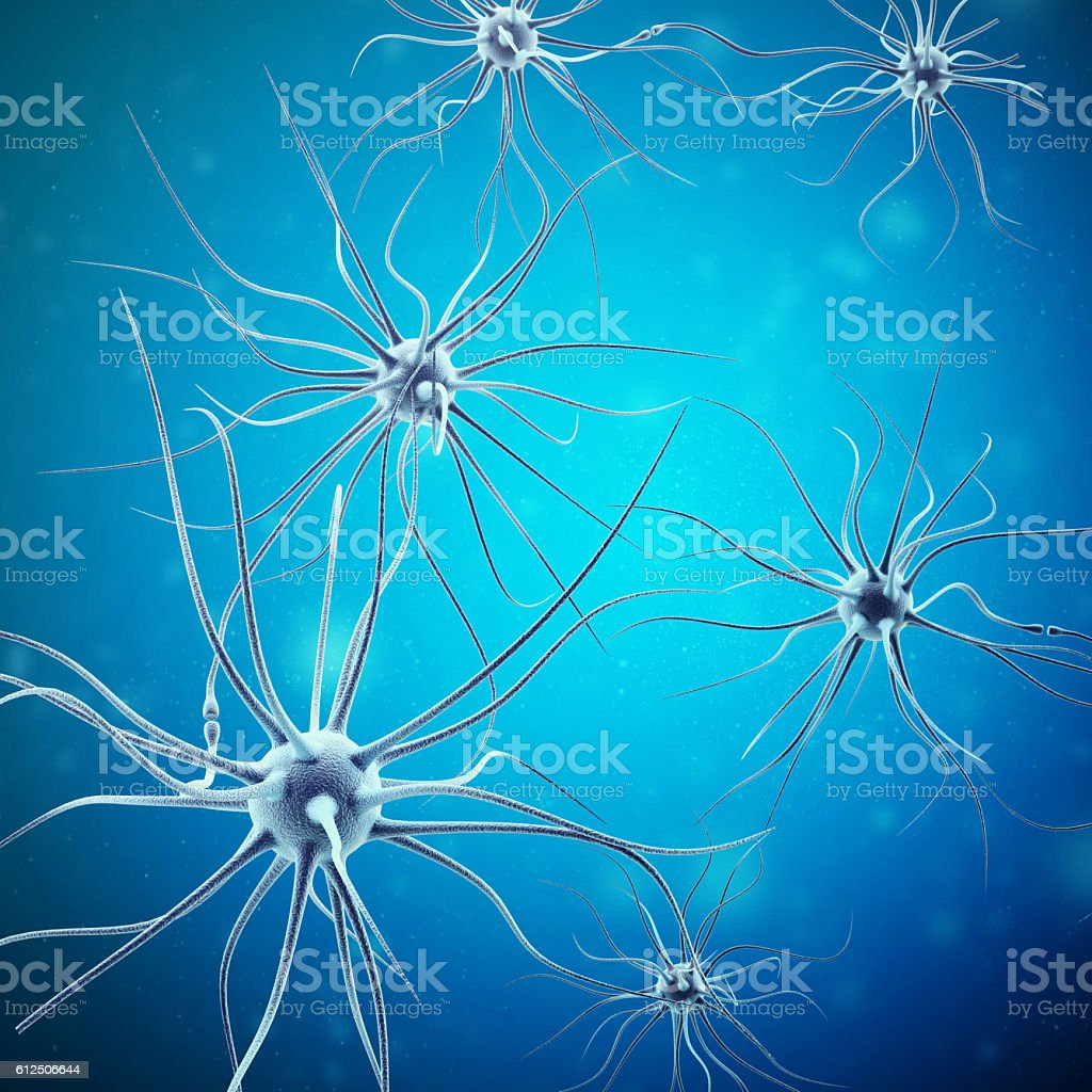 Neurons transmission signals in the head on blue background. Synapse stock photo
