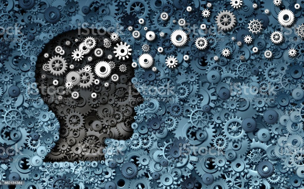 Neuroscience Development Neuroscience development and training concept as a group of cog wheels and gears shaped as human head with information transfer as a technology brain symbol or psychology exchange success as a 3D render. Business Finance and Industry Stock Photo