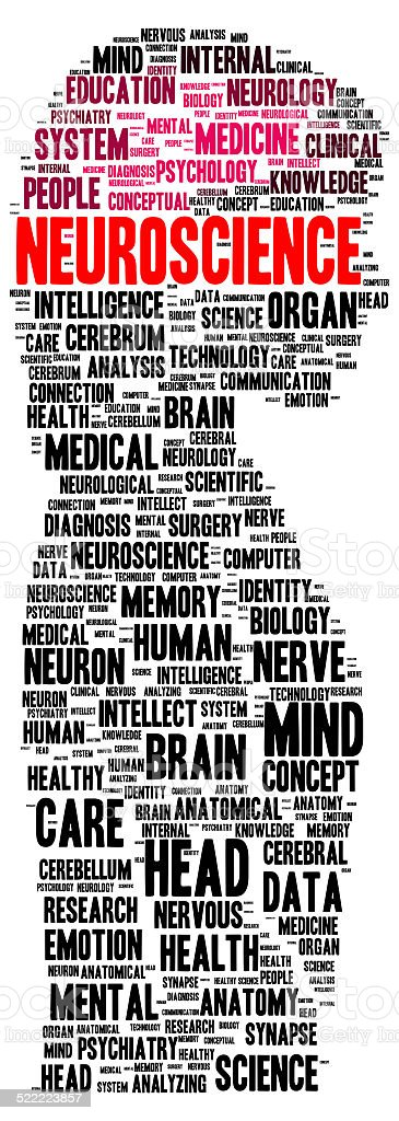 Neuroscience word cloud shape stock photo