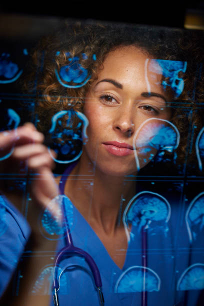 neurosurgeon checking mri scans a female doctor or surgeon is analysing the digitally generated scans of a human brain neurosurgery stock pictures, royalty-free photos & images