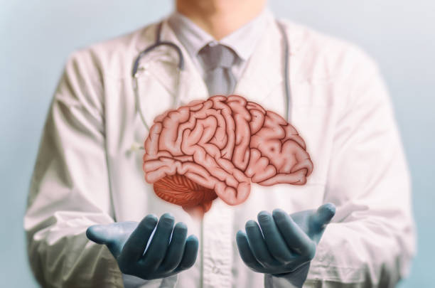 Neurosurgery. Treating of a brain. stock photo