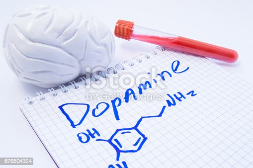 istock Neurotransmitter Dopamine in brain. Anatomic 3D brain model, lab test tube with blood and note, where is written title of dopamine and formula. Concept for determine level of dopamine in human brain 876504324