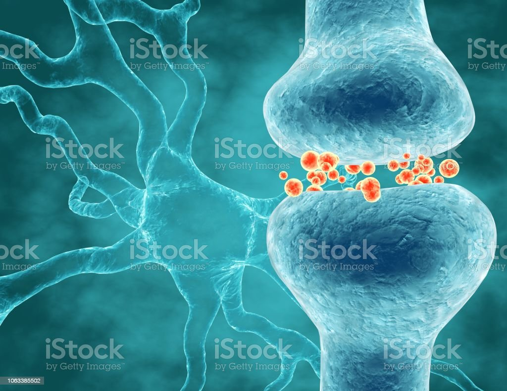 Neurotransmitters brain cells signals transferring information, neuroscience concept illustration. stock photo