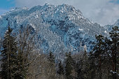 The famous Bavarian castle Neuschwanstein and the Tegelberg in winter.