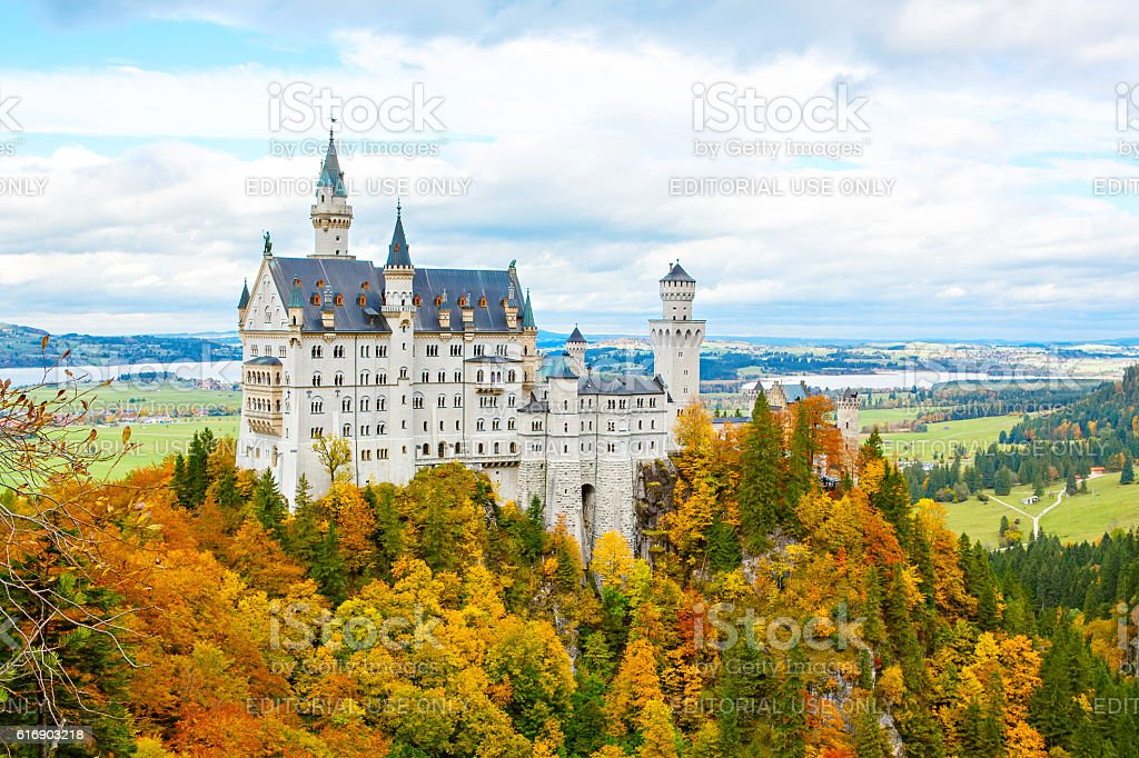 Neuschwanstein Castle, Germany.  Famous tourist attraction stock photo