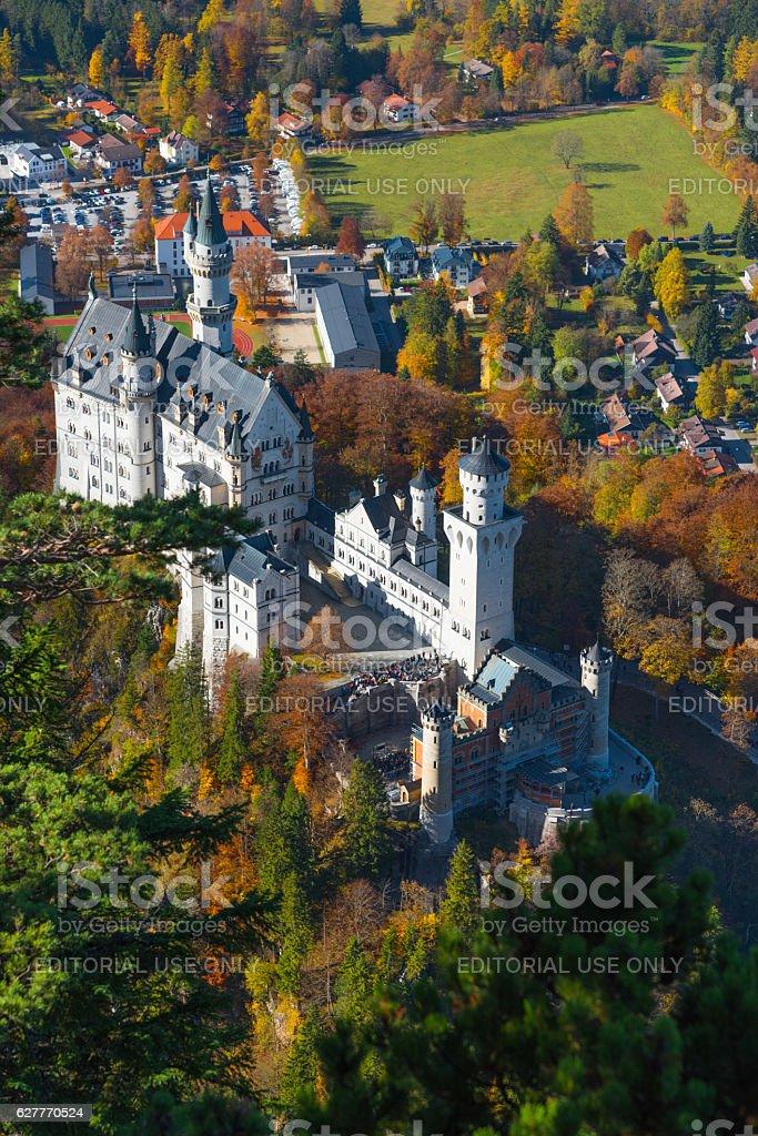 Neuschwanstein castle in autumn/fall stock photo