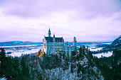 Hohenschwangau, Germany - November 29, 2015: Neuschwanstein castle in Bavaria, Germany at winter time