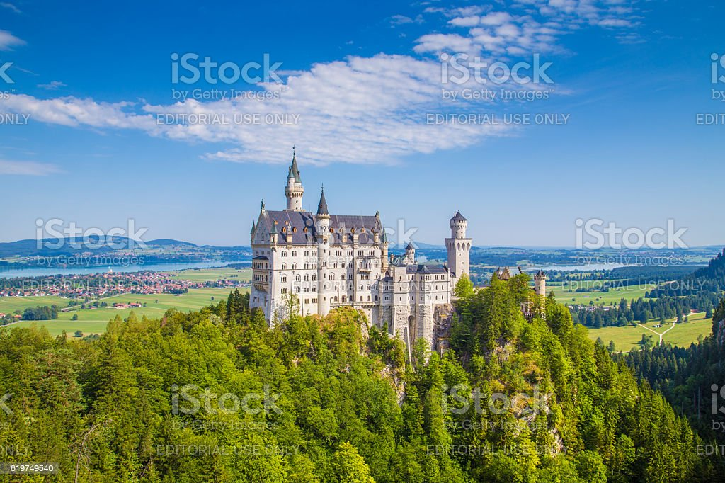 Neuschwanstein Castle in summer, Bavaria, Germany stock photo