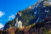 Schwangau, Germany - March 26, 2016: Neuschwanstein Castle in winter landscape, Fussen, Germany