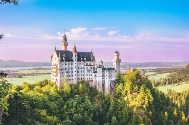 neuschwanstein castle - fantasie disney stock-fotos und bilder