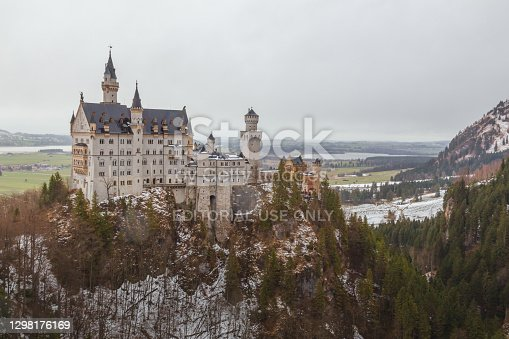 The famous 19th century Neuschwanstein Castle in southwest Bavaria, commissioned by the mad king Ludwig II in honour of Richard Wagner.
