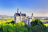 Fussen, Germany - June 7, 2013: Beautiful summer view of the Neuschwanstein castle at Fussen, Bavaria, Germany.