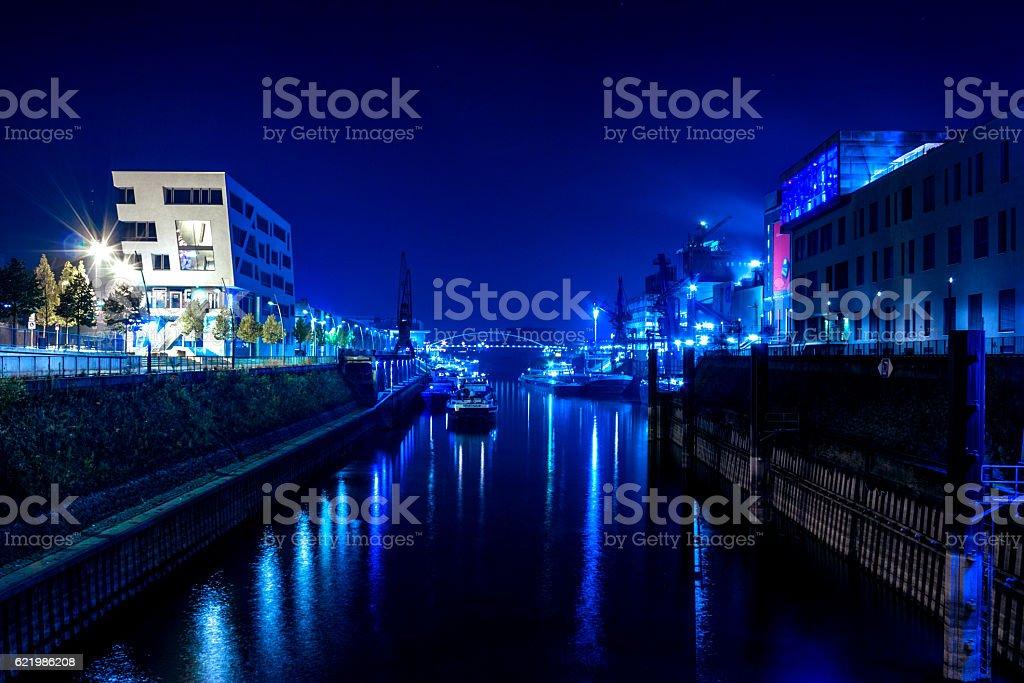 Neuss Hafen Nachts Nordrhein-Westfalen Stockfoto stock photo