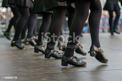 Neustadt in Holstein, Germany - August 4, 2019, European Folklore Festival. Folk Dance Group. traditional dance, Set-Dancing, Irish folk dance in contemporary Irish black shoes