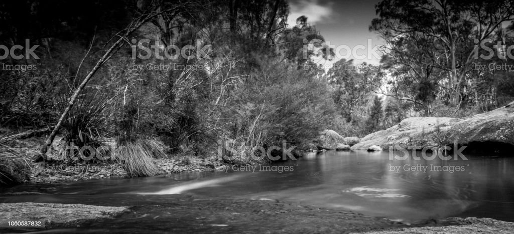 Neutral Density, Black and white creek bed stock photo