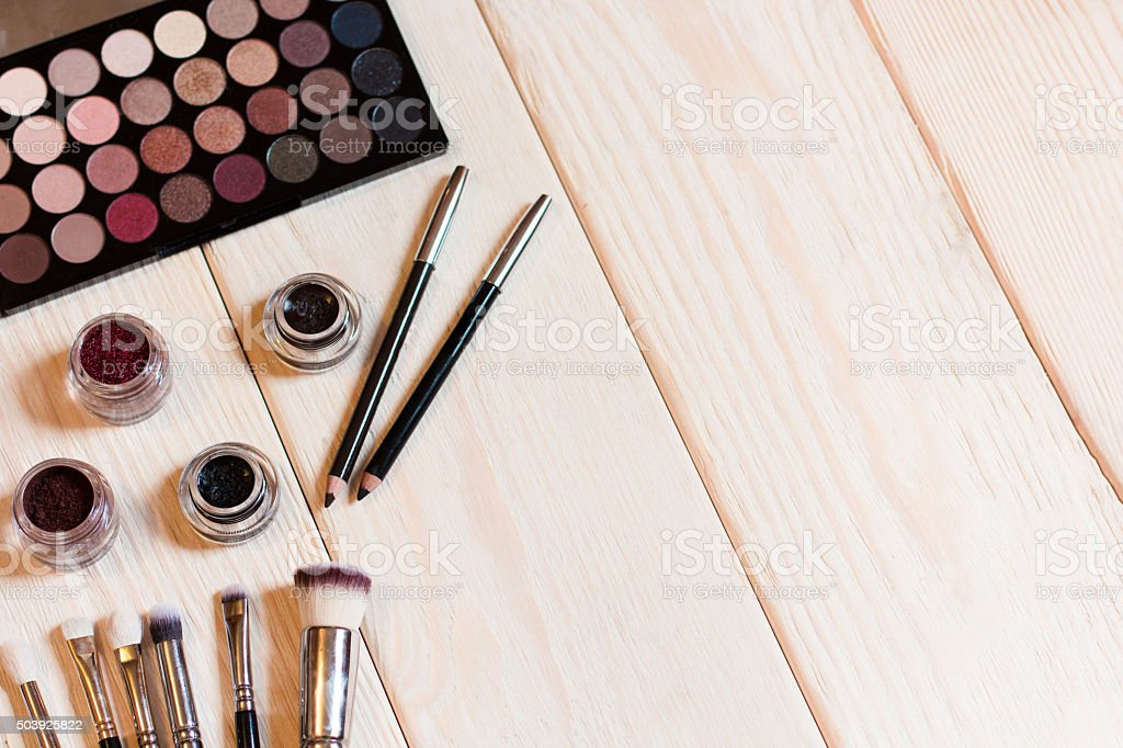 Neutral eye shadows set for make-up artist stock photo