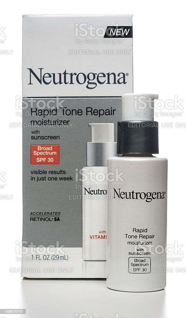 Neutrogena Rapid Tone Repair moisturizer with sunscreen royalty-free stock photo