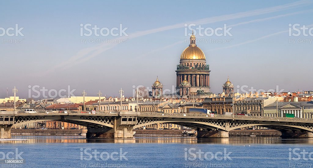 Neva river with Isaakievsky Cathedral in St.Petersburg, Russia stock photo