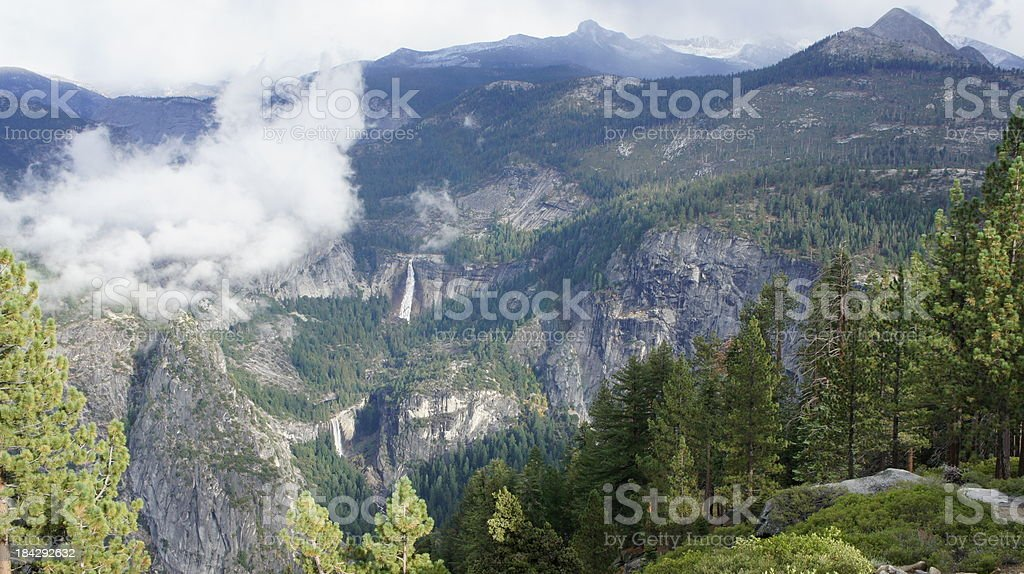 Nevada and Vernal Falls in Yosemite stock photo
