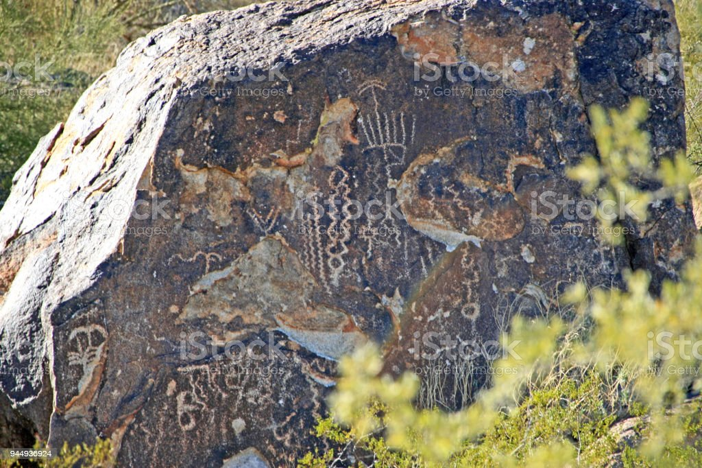 nevada desert rock art drawings on boulders tribal stock photo