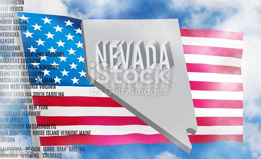 450754061 istock photo Nevada inscription on American flag background  3 D illustration 981531572