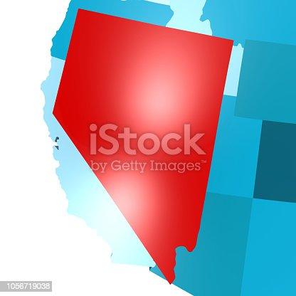 450754061istockphoto Nevada map on blue USA map 1056719038