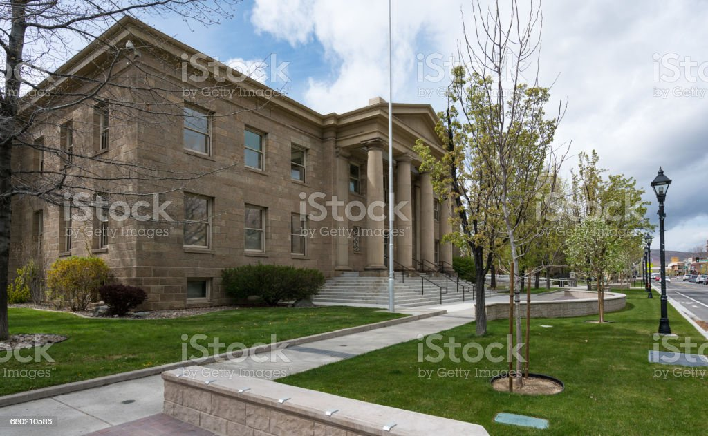 Nevada Ormsby County Courthouse building entrance in Carson City stock photo