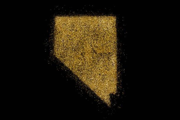nevada, geformt aus goldenen glitzer auf schwarz (serie) - weihnachten de stock-fotos und bilder