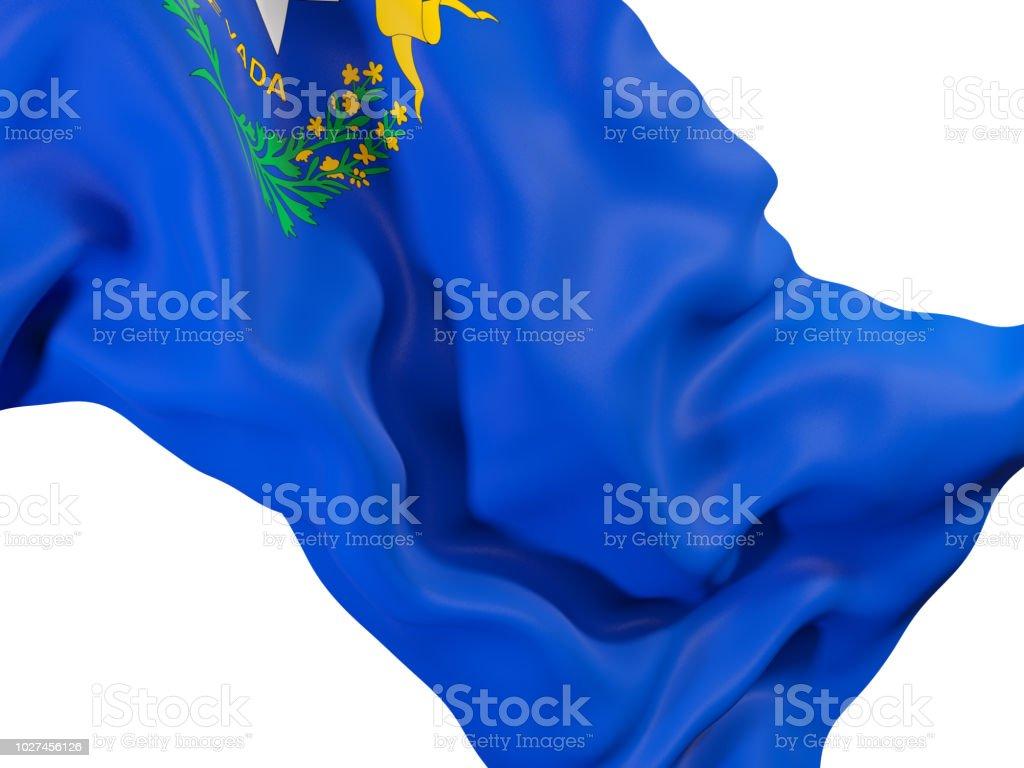 Bandeira do estado de Nevada close-up. Bandeiras de locais dos Estados Unidos - foto de acervo