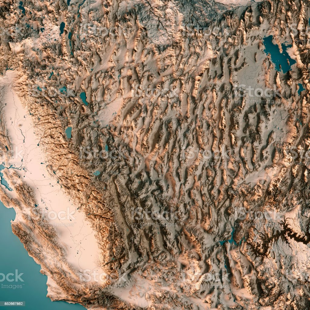 Topographic Map Of Nevada.Nevada State Usa 3d Render Topographic Map Neutral Stock Photo