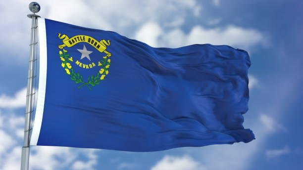 Nevada Waving Flag Nevada (U.S. state) flag waving against clear blue sky, close up, isolated with clipping path mask luma channel, perfect for film, news, composition nevada stock pictures, royalty-free photos & images
